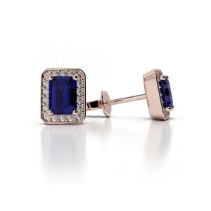 Jewelry - 4.80 Carats Sapphire And Diamonds Ladies Studs